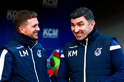 Bristol Rovers coach Kevin Maher laughs with Bristol Rovers development squad manager Lee Mansell - Mandatory by-line: Ryan Crockett/JMP - 18/01/2020 - FOOTBALL - Aesseal New York Stadium - Rotherham, England - Rotherham United v Bristol Rovers - Sky Bet League One