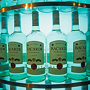 Group of Bacardi bottles with white rum. Puerto Rico factory. PR, USA.