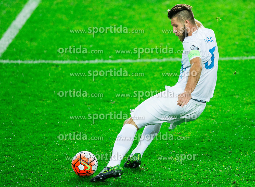 Bostjan Cesar of Slovenia during the EURO 2016 Qualifier Group E match between Slovenia and Lithuania, on October 9, 2015 in SRC Stozice, Ljubljana Slovenia. Photo by Vid Ponikvar / Sportida