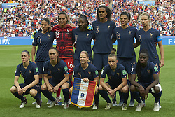 June 28, 2019 - Paris, France - Line up of France (L-R) Amel Majri, Sarah Bouhaddi, Kadidiatou Diani, Wendie Renard,Valerie Gauvin, Amandine Henry, Elise Bussaglia, Sakina Karchaoui, Eugenie Le Sommer, Marion Torrent, Griedge Mbock Bathy during the 2019 FIFA Women's World Cup France Quarter Final match between France and USA at Parc des Princes on June 28, 2019 in Paris, France. (Credit Image: © Jose Breton/NurPhoto via ZUMA Press)