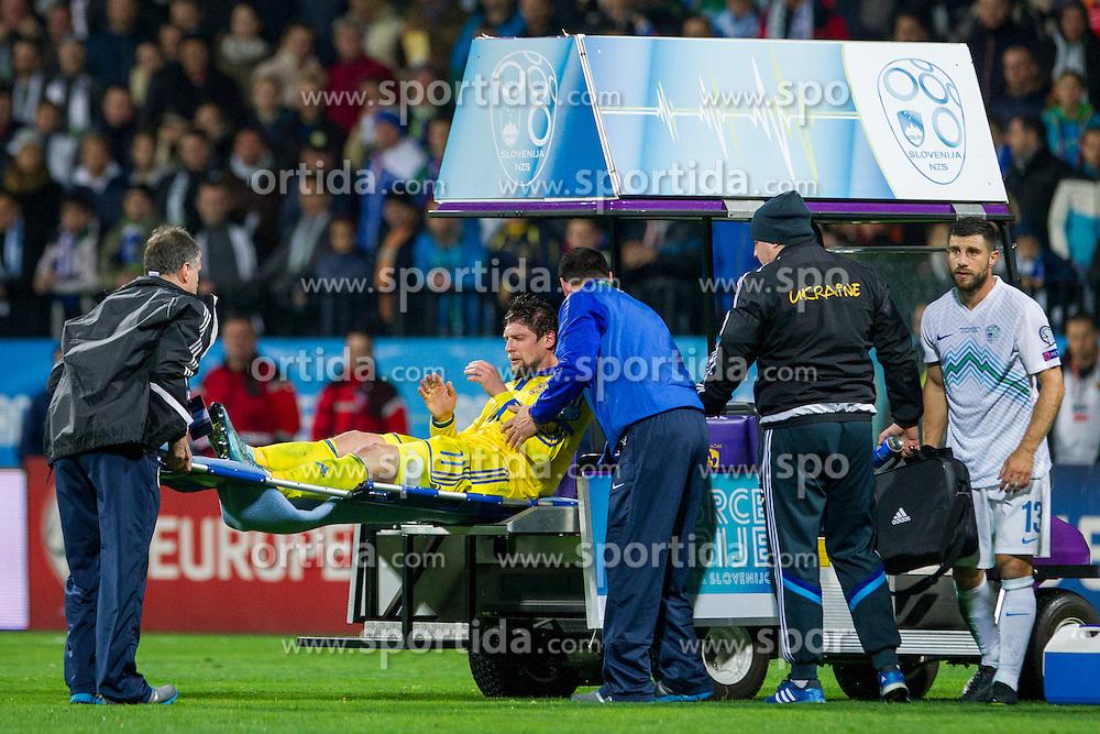 Yevhen Selezyov (UKR) injured during the UEFA EURO 2016 Play-off for Final Tournament, Second leg between Slovenia and Ukraine, on November 17, 2015 in Stadium Ljudski vrt, Maribor, Slovenia. Photo by Urban Urbanc / Sportida