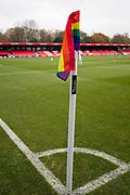 Salford City corner flag.  EFL Sky Bet League 2 match between Salford City and Macclesfield Town at the Peninsula Stadium, Salford, United Kingdom on 23 November 2019.