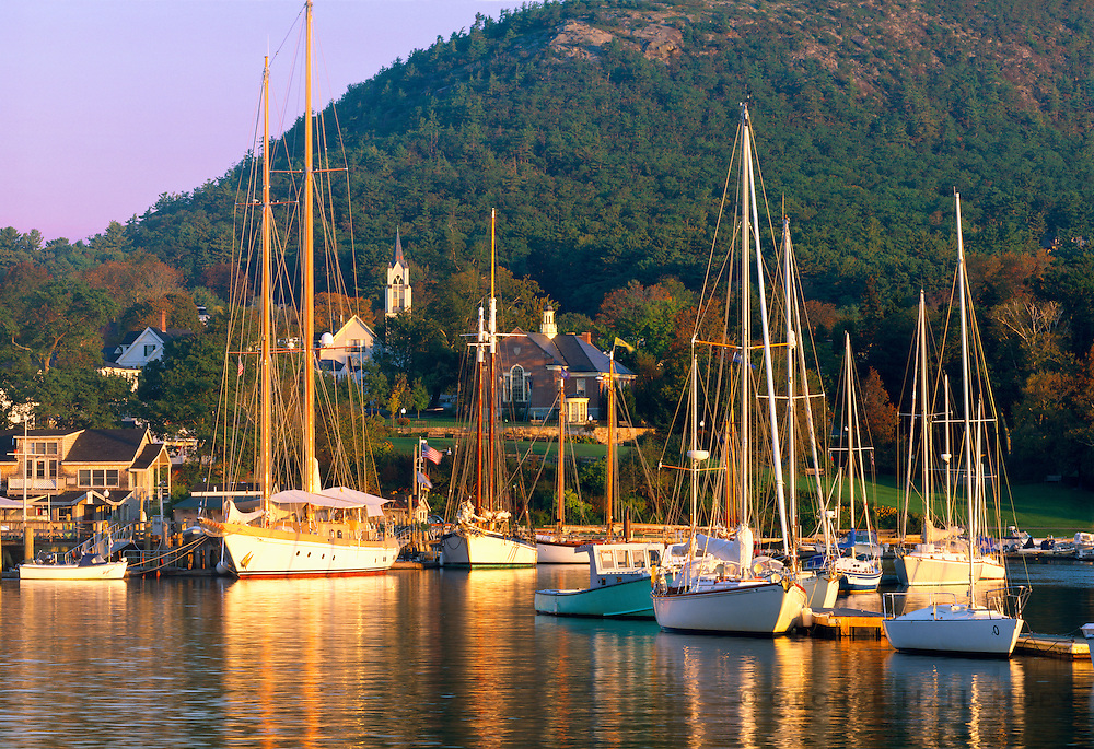 0905-1004B ~ Copyright: George H.H. Huey ~ Camden Harbor at sunrise, with boats and the Camden Hills in background.  Knox County, Camden, Maine.