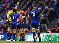 Rugby Union - 2017 / 2018 European Rugby Champions Cup - Pool Three: Leinster vs. Exeter Chiefs<br /> <br /> Referee Pascal Gauzere shows Leinster's Cian Healy a yellow card, at Aviva Stadium, Dublin.<br /> <br /> COLORSPORT/KEN SUTTON
