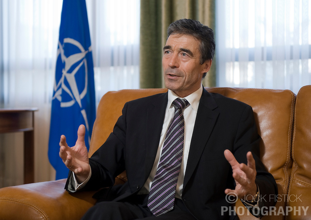 Andres Fogh Rasmussen, secretary general of the North Atlantic Treaty Organization, speaks during an interview at NATO headquarters n Brussels, Belgium on Monday, December, 14, 2010. (Photo © Jock Fistick)