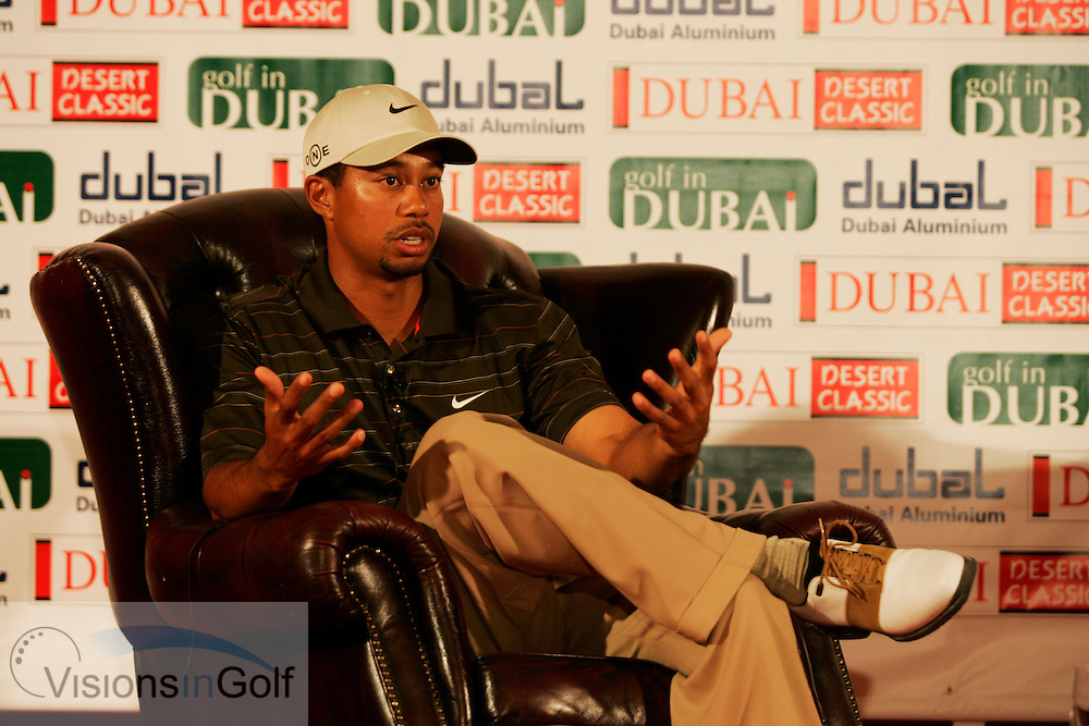 Tiger Woods relaxing during a press conference<br /> Dubai Desert Classic, Emirates GC, UAE. 1st Febraury 2006,<br /> Mandatory Photo Credit: Mark Newcombe / visionsingolf.com