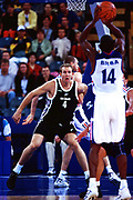 Sean Marks defends during the Men's basketball match between the New Zealand Tall Blacks and France at the Olympics in Sydney, Australia on 17 September, 2000. Photo: PHOTOSPORT<br /><br /><br /><br /><br />170900 *** Local Caption ***