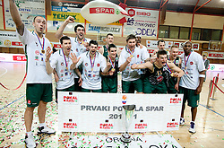Players of Union Olimpija celebrate after winning the basketball match between KK Helios Domzale and KK Union Olimpija in Final of Spar Slovenian Cup, on February 13, 2011 in Sportna dvorana Poden, Skofja Loka, Slovenia. Union Olimpija defeated Helios 92-55 and become Slovenian Cup Champion. (Photo By Vid Ponikvar / Sportida.com)