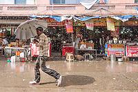 Haridwar, India: Shadows in the rain.
