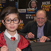 London, England, UK. 29th October 2017. David Bradley signing autographer for fans at the MCM London Comic Con at Excel London.