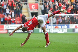 Will Vaulks of Rotherham United performs a somersault celebration after scoring against Scunthorpe United - Mandatory by-line: Ryan Crockett/JMP - 14/10/2017 - FOOTBALL - Aesseal New York Stadium - Rotherham, England - Rotherham United v Scunthorpe United - Sky Bet League One