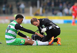 Tahvon Campbell of Yeovil Town receives treatment  - Mandatory by-line: Nizaam Jones/JMP - 29/10/2016/ - FOOTBALL - Hush Park - Yeovil, England - Yeovil Town v Grimsby Town - Sky Bet League Two