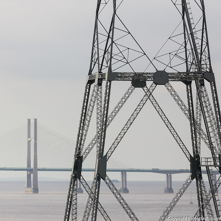 Aust Severn Pylon with the Second Severn Crossing, Avon.