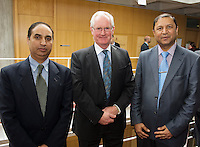 Mr. Tahir Khan, UCH, Prof Frank Keane RCSI and Mr. S.M. Babur, Navan General at the Clinical Science Building UCHG. Photo:Andrew Downes