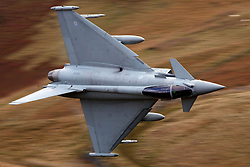 Royal Air Force Eurofighter Typhoon FGR4 (ZK304) flies low level through the Mach Loop, Machynlleth, Wales, United Kingdom