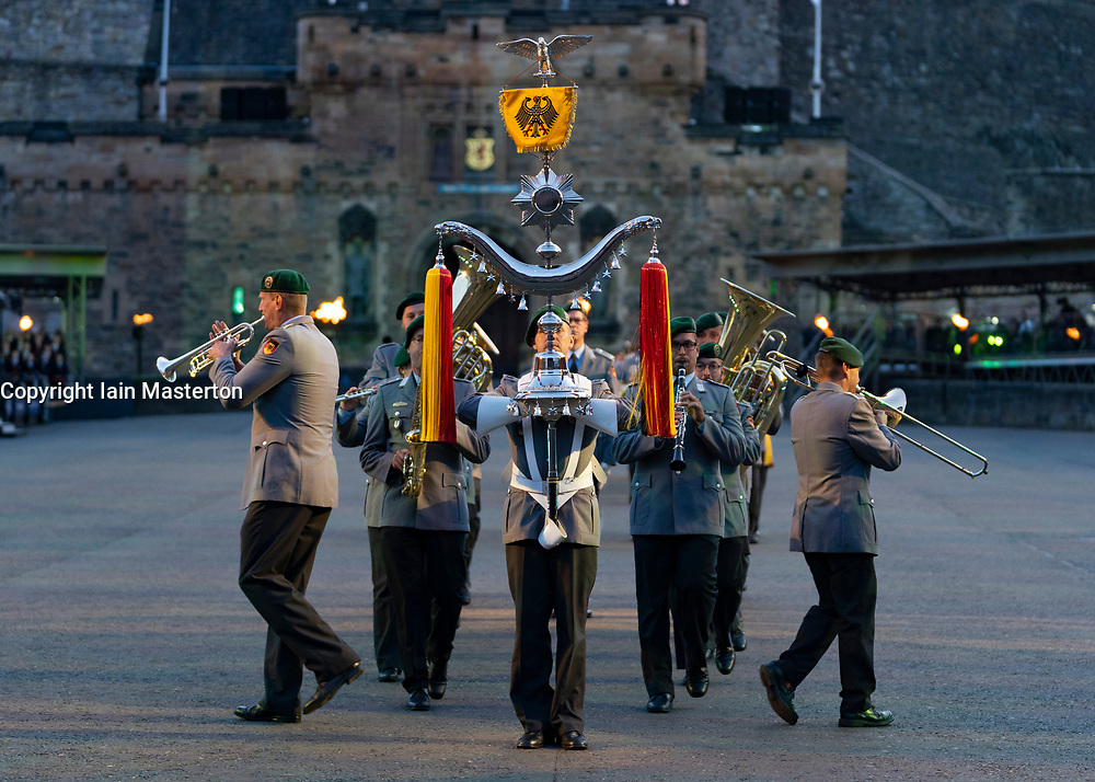 Edinburgh, Scotland, UK. 5 August, 2019.  The Royal Edinburgh Military Tattoo forms part of the Edinburgh International festival. Pictured; Heeresmusikkorps Kassel