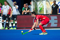 Belgium's Loick Luypaert demonstrates amazing ball control. Belgium v Germany - Unibet EuroHockey Championships, Lee Valley Hockey & Tennis Centre, London, UK on 22 August 2015. Photo: Simon Parker