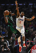 Boston Celtics guard Jaylen Brown #7 goes to the hoop against LA Clippers guard Sindarius Thornwell #0 in the first half. The Los Angeles Clippers played the Boston Celtics in a regular season NBA matchup in Los Angeles, CA 1/025/2018 (Photo by John McCoy, Los Angeles Daily News/SCNG)
