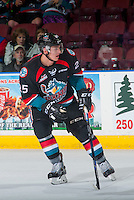 KELOWNA, CANADA - SEPTEMBER 28: Cal Foote #25 of Kelowna Rockets skates against the Prince George Cougars on September 28, 2016 at Prospera Place in Kelowna, British Columbia, Canada.  (Photo by Marissa Baecker/Shoot the Breeze)  *** Local Caption *** Cal Foote;