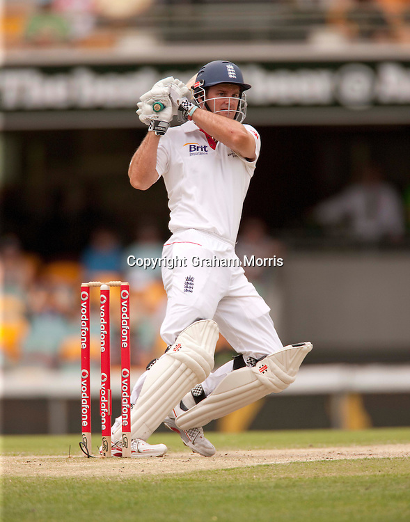Andrew Strauss bats during the first Ashes Test Match between Australia and England at the Gabba, Brisbane. Photo: Graham Morris (Tel: +44(0)20 8969 4192 Email: sales@cricketpix.com) 28/11/10