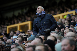 An Everton fan shouts at his team - Photo mandatory by-line: Dougie Allward/JMP - Tel: Mobile: 07966 386802 23/11/2013 - SPORT - Football - Liverpool - Merseyside derby - Goodison Park - Everton v Liverpool - Barclays Premier League