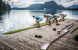 Denis Zvegelj, Milan Jansa, Sadik Mujkic and Jani Klemencic of Slovenian rowing team 25-years after Olympic medals in Barcelona 1992 at practice session preparing for World Rowing Masters Regatta Bled 2017, on July 13, 2017 at Lake Bled, Slovenia. Photo by Vid Ponikvar / Sportida