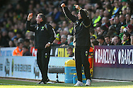 Picture by Paul Chesterton/Focus Images Ltd.  07904 640267.19/11/11.Norwich Manager Paul Lambert and Ian Culverhouse give out instructions during the Barclays Premier League match at Carrow Road stadium, Norwich.