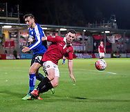 Sam Sheridan of FC United of Manchester (right) holds off Oliver Banks of Chesterfield during the FA Cup match at Broadhurst Park, Moston<br /> Picture by Russell Hart/Focus Images Ltd 07791 688 420<br /> 09/11/2015