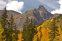A scenic view of the San Juan Mountains  on Red Mountain Pass during the autumn season, Colorado.