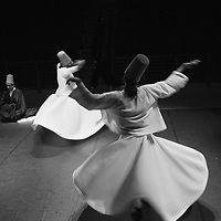 A whirling Dervish of the Galata Mevlevi Ensemble