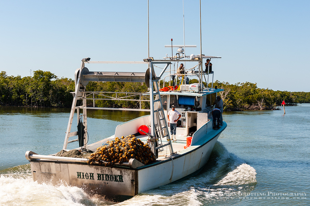 US, Florida. Ten Thousand Islands, Everglades. Fishing boat outside Everglades City.