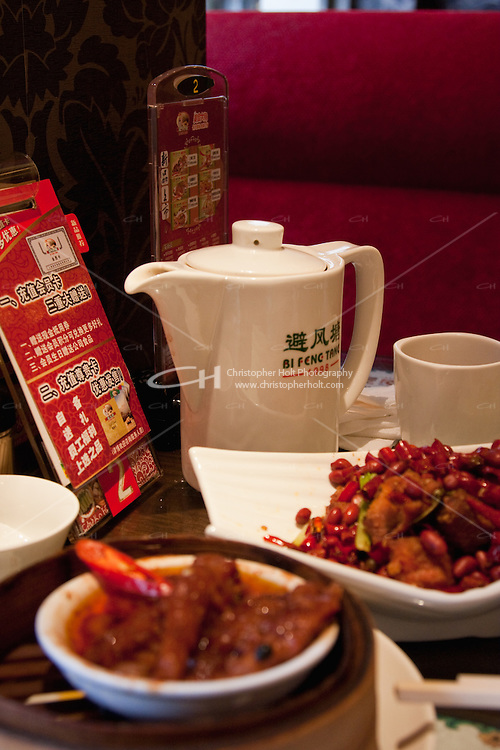chinese tea served during dim sum meal in shanghai china