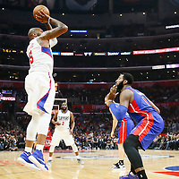 07 November 2016: Los Angeles Clippers center Marreese Speights (5) takes a jump shot over Detroit Pistons center Andre Drummond (0) during the LA Clippers 114-82 victory over the Detroit Pistons, at the Staples Center, Los Angeles, California, USA.