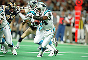 Running Back Richard Huntley (34) of the Carolina Panthers runs the ball against the St. Louis Rams defense during a 48 to 14 win by the Rams on 11/11/2001..©Wesley Hitt/NFL Photos