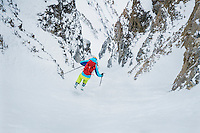 Andy Dorais skiing a steep couloir in the Wasatch Mountains, Utah.