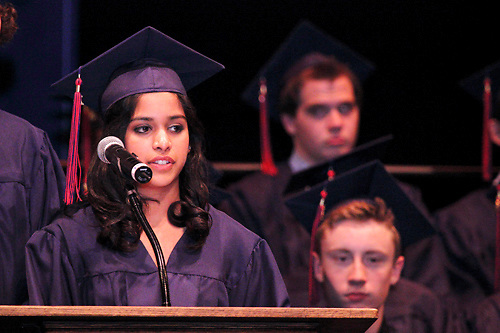 Class co-president Natasha Patel speaks during the Miami Valley School 39th annual commencement at the Victoria Theatre in downtown Dayton, June 7, 2012.