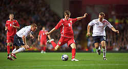 BIRMINGHAM, ENGLAND - Monday, October 13, 2008: Wales' Aaron Ramsey in action against England during the UEFA European Under-21 Championship Play-Off 2nd Leg match at Villa Park. (Photo by Gareth Davies/Propaganda)