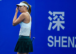 SHENZHEN, Jan. 5, 2018  Maria Sharapova of Russia reacts during her semi-final match against Katerina Siniakova of the Czech Republic at the WTA Shenzhen Open tennis tournament in Shenzhen, China, Jan. 5, 2018. Maria Sharapova lost 1-2. (Credit Image: © Mao Siqian/Xinhua via ZUMA Wire)