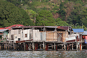 Side elevation of collapsed stilt house in the Water Village, Kampung Buli Sim Sim, Sandakan, Sabah