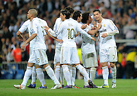 FUSSBALL   CHAMPIONS LEAGUE   SAISON 2011/2012  Achtelfinale Rueckspiel 14.03.2012 Real Madrid  - ZSKA Moskau  JUBEL Real Madrid; Pepe, Mesut Oezil, Alvaro Arbeloa, Marcelo und zweifacher Torschuetze Cristiano Ronaldo (v.li.)