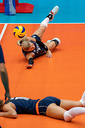 02-08-2019 ITA: FIVB Tokyo Volleyball Qualification 2019 / Belgium - Netherlands, Catania<br /> 1e match pool F in hall Pala Catania between Belgium - Netherlands. Netherlands win 3-0 / Britt Bongaerts #12 of Netherlands, Anne Buijs #11 of Netherlands