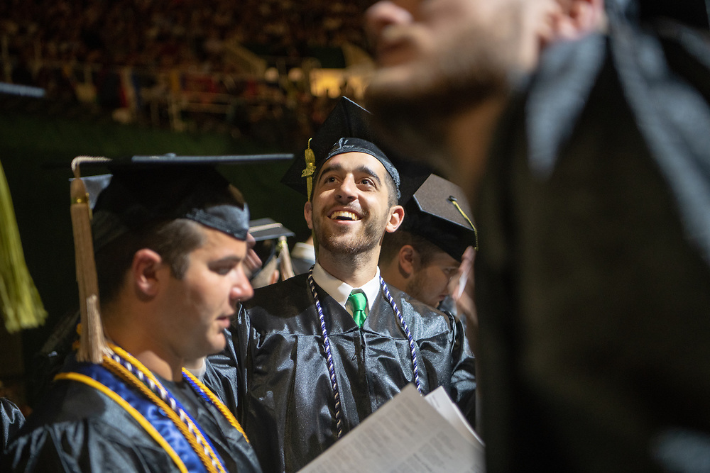 Hayden Seserko participates in spring undergraduate commencement. Photo by Ben Siegel