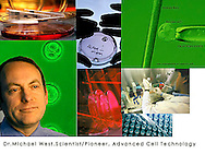 Dr.Michael West,cell clone, scientist,picture of human cell,petri dish,