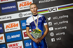 Jaakko Hanninen of Finland Bronze Medal / Celebration / during the Men Under 23 Road race a 179.9km race from Kufstein to Innsbruck 582m at the 91st UCI Road World Championships 2018 / RR / RWC / on September 28, 2018 in Innsbruck, Austria. Photo by Vid Ponikvar / Sportida