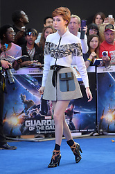 Image ©Licensed to i-Images Picture Agency. 24/07/2014. London, United Kingdom. <br /> <br /> Pictured is actress Karen Gillan.<br /> <br /> Guardian's of the Galaxy film premiere at Leicester Square, London, UK.<br /> <br /> Picture by Ben Stevens / i-Images