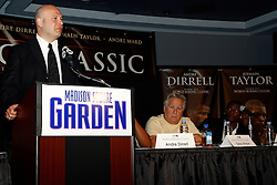 July 13, 2009; New York, NY, USA; Lou DiBella, promoter of Jermain Taylor, speaks at the press conference announcing the Super Six World Boxing Classic Tournament at Madison Square Garden in New York City.