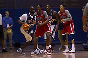 Sylvia Fowles (13) and Candace Parker (15) playing defense during the 2012 USA Women's Basketball team practice at Bender Arena  in Washington, DC.  July 15, 2012  (Photo by Mark W. Sutton)