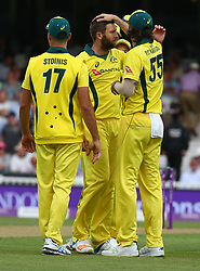 June 13, 2018 - London, England, United Kingdom - Andrew Tye of Australia celebrates the wicket of England's Jos Buttler .during One Day International Series match between England and Australia at Kia Oval Ground, London, England on 13 June 2018. (Credit Image: © Kieran Galvin/NurPhoto via ZUMA Press)