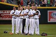 PHOENIX, AZ - APRIL 07:  Brandon Drury #27, Nick Ahmed #13, A.J. Pollock #11, Paul Goldschmidt #44, Jake Lamb #22 and David Peralta #6 of the Arizona Diamondbacks stand attention for the national anthem prior to the MLB game against the Cleveland Indians at Chase Field on April 7, 2017 in Phoenix, Arizona. The Arizona Diamondbacks won 7-3.  (Photo by Jennifer Stewart/Getty Images)