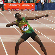 USAIN BOLT CELEBRATING AFTER WINNING THE 100M ON FRIDAY NIGHT AT THE OLYMPIC STADIUM,LONDON,AT THE ANNIVERSARY GAMES.<br /> <br />  Six-time Olympic champion Usain Bolt produced a season's best to win the 100m on his return to the Olympic Stadium for the Anniversary Games.<br /> A year on from the London 2012 opening ceremony, Bolt paid his own homage to last year's Olympics by clinching the blue riband event in 9.85 seconds.<br /> Before a sell-out crowd, the Jamaican ran nine hundredths of a second quicker than he had done this year.<br /> Britain's James Dasaolu withdrew injured before the race.